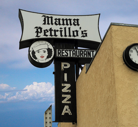 Iconic Sign outside Mama Petrillo's Pizza and Italian Restaurant in Temple City, CA 91780